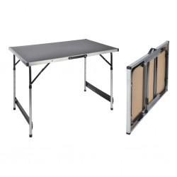 HI Składany stół, 100 x 60 x 94 cm, aluminiowy