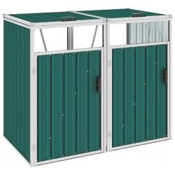 stradeXL Osłona na 2 kosze na śmieci, zielona, 143x81x121 cm, stalowa