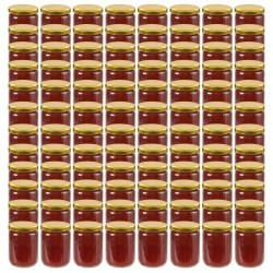 stradeXL Glass Jam Jars with Gold Lid 96 pcs 230 ml