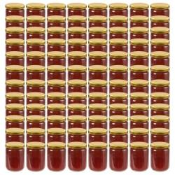 stradeXL Szklane słoiki na dżem, złote pokrywki, 96 szt., 230 ml