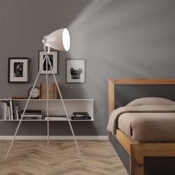 stradeXL Lampa podłogowa na trójnogu, metalowa, biała, E27