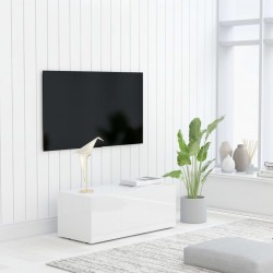 stradeXL Szafka pod TV, biała, wysoki połysk, 80x34x30 cm, płyta wiórowa