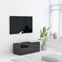 stradeXL Szafka pod TV, czarna na wysoki połysk, 80x34x30 cm