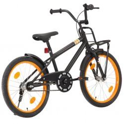 stradeXL Rower dziecięcy z bagażnikiem, 20 cali, czarno-pomarańczowy