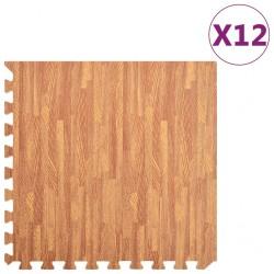 stradeXL Maty podłogowe, 12 szt, wzór drewna, 4,32 ㎡, pianka EVA