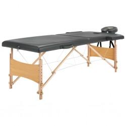 stradeXL Stół do masażu z 2 strefami, drewniana rama, antracyt, 186x68cm