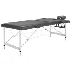 stradeXL Stół do masażu, 2 strefy, rama z aluminium, antracyt, 186x68cm