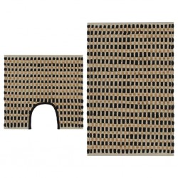stradeXL Hand-Woven Jute Bathroom Mat Set Fabric Natural and Black