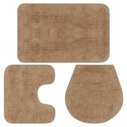 stradeXL 3-częściowy zestaw mat łazienkowych, tkanina, beż