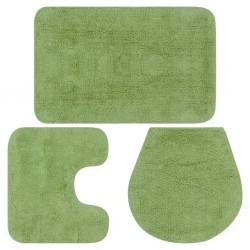 stradeXL 3-częściowy zestaw mat łazienkowych, tkanina, zielony