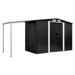 stradeXL Garden Shed with Sliding Doors Anthracite 386x131x178 cm Steel