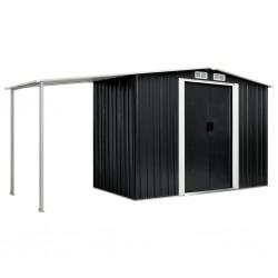 stradeXL Szopa ogrodowa z drzwiami przesuwnymi, antracyt, 386x131x178 cm
