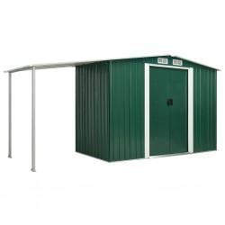 stradeXL Garden Shed with Sliding Doors Green 386x131x178 cm Steel