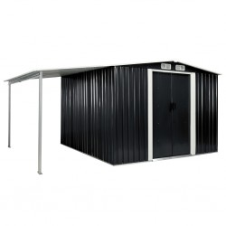 stradeXL Garden Shed with Sliding Doors Anthracite 386x259x178 cm Steel