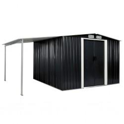stradeXL Szopa ogrodowa z drzwiami przesuwnymi, antracyt, 386x259x178 cm