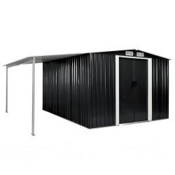 stradeXL Szopa ogrodowa z drzwiami przesuwnymi, antracyt, 386x312x178 cm