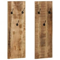 stradeXL Wieszaki ścienne na płaszcze, 2 szt., drewno mango, 36x110x3 cm