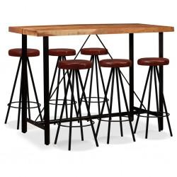 stradeXL Meble barowe z litego drewna akacjowego i skóry, 7 elementów