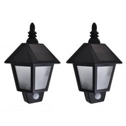 stradeXL Solar Wall Lamps 2 pcs with Motion Sensor Black