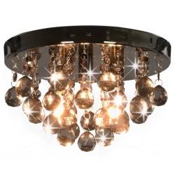 stradeXL Lampa sufitowa z przydymionymi koralikami, czarna, okrągła, G9