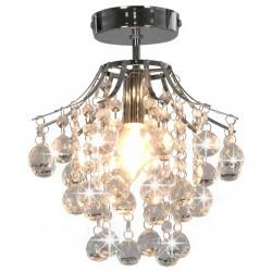 stradeXL Lampa sufitowa z kryształkami i koralikami, srebrna, E14