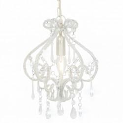 stradeXL Lampa sufitowa z koralikami, biała, okrągła, E14