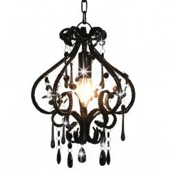 stradeXL Lampa sufitowa z koralikami, czarna, okrągła, E14