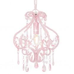 stradeXL Lampa sufitowa z koralikami, różowa, okrągła, E14
