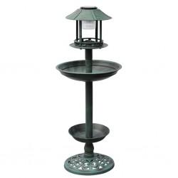 Basenik/karmnik dla ptaków z lampą solarną