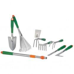 HI 8-częściowy zestaw narzędzi ogrodniczych, srebrny, metalowy