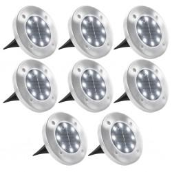 stradeXL Solarne lampy gruntowe, 8 szt., białe LED