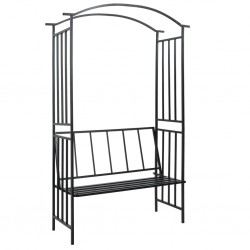 stradeXL Garden Arch with Bench Black 128x50x207 cm Iron