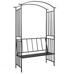 stradeXL Pergola ogrodowa z ławką, czarna, 128x50x207 cm, żelazna