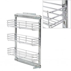 stradeXL 3-Tier Pull-out Kitchen Wire Basket Silver 47x15x56 cm