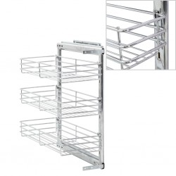 stradeXL 3-Tier Pull-out Kitchen Wire Basket Silver 47x25x56 cm