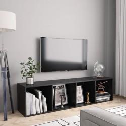 stradeXL Regał na książki/szafka TV, czarny, 143x30x36 cm