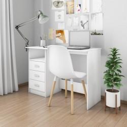 stradeXL Biurko z szufladami, białe, 110x50x76 cm, płyta wiórowa
