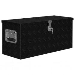 stradeXL Skrzynia aluminiowa, 80 x 30 x 35 cm, czarna