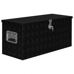 stradeXL Skrzynia aluminiowa, 90,5 x 35 x 40 cm, czarna
