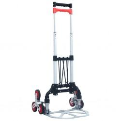 stradeXL Składany schodowy wózek transportowy, 70 kg, aluminium, srebrny