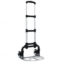 stradeXL Składany wózek transportowy, 70 kg, aluminiowy, srebrny