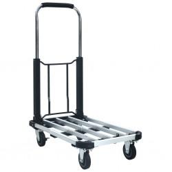 stradeXL Składany wózek transportowy, 150 kg, aluminiowy, srebrny