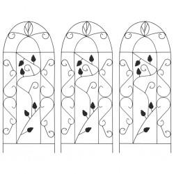 stradeXL Podpórki do roślin pnących, 3 szt., czarne, 40x100 cm, żelazo