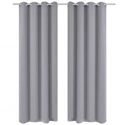 Szare zasłony zaciemniające z metalowymi otworami x2 135 x 245 cm