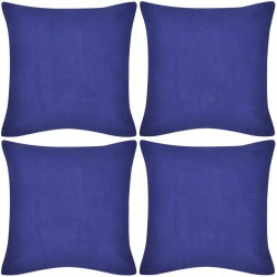 4 Blue Cushion Covers Cotton 40 x 40 cm