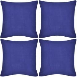4 Niebieskie bawełniane poszewki na poduszki 40 x 40 cm