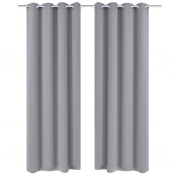 stradeXL Blackout Curtains 2 pcs with Metal Eyelets 135x175 cm Grey