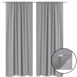 stradeXL Blackout Curtains 2 pcs Double Layer 140x175 cm Grey