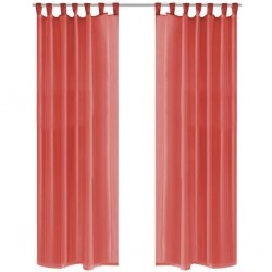 stradeXL Zasłony z woalu, 2 sztuki, 140 x 175 cm, kolor czerwony