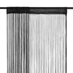 stradeXL Zasłony sznurkowe, 2 sztuki, 140 x 250 cm, czarne